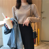 Wool knitwear Autumn 2020 One size fits all, XXS pre-sale Long sleeves singleton  Socket other 51% (inclusive) - 70% (inclusive) Regular routine commute Self cultivation Half height crew neck routine stripe Socket Korean version