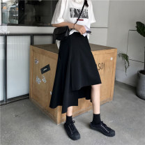 skirt Spring 2020 One size fits all, XXS pre-sale black Mid length dress commute High waist Irregular Solid color Type A 51% (inclusive) - 70% (inclusive) other other Korean version