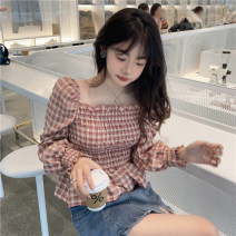 shirt Pink One size fits all, XXS pre-sale Summer 2021 other 71% (inclusive) - 80% (inclusive) Long sleeves commute Short style (40cm < length ≤ 50cm) square neck Socket routine lattice Self cultivation Korean version fold