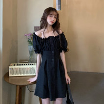 Dress Summer 2020 White, black One size fits all, XXS pre-sale Short skirt singleton  Short sleeve commute One word collar Elastic waist Solid color Single breasted A-line skirt puff sleeve Type A Korean version Button