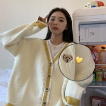 Wool knitwear Autumn 2020 One size fits all, XXS pre-sale Off white Long sleeves singleton  Cardigan other 51% (inclusive) - 70% (inclusive) Regular routine commute easy V-neck routine Solid color Single breasted Korean version Embroidery, buttons