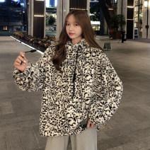 Sweater / sweater Autumn 2020 Milk fierce Leopard One size fits all, XXS pre-sale Long sleeves Medium length Socket singleton  thickening Hood easy commute routine Leopard Print 18-24 years old 51% (inclusive) - 70% (inclusive) Korean version