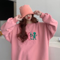 Sweater / sweater Winter 2020 Navy, pink One size fits all, XXS pre-sale Long sleeves Medium length Socket singleton  Plush Crew neck easy commute routine Cartoon animation 51% (inclusive) - 70% (inclusive) Korean version other printing