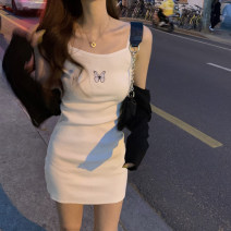 Dress Summer 2020 Suspender dress, small black coat One size fits all, XXS pre-sale Short skirt singleton  Sleeveless commute High waist Animal design Socket A-line skirt camisole 18-24 years old Type A Korean version Embroidery 91% (inclusive) - 95% (inclusive)