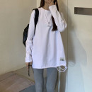 T-shirt Average size Winter 2020 Long sleeves Crew neck easy Medium length routine commute cotton 96% and above Korean version youth Solid color