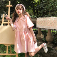 Dress Autumn 2020 Pink Average size Short skirt singleton  Short sleeve commute tailored collar High waist Solid color Single breasted other routine Others 18-24 years old Type A Korean version Button, button More than 95%
