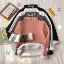 Sweater / sweater Winter 2020 White, black, carbon gray, shrimp pink One size fits all, XXS pre-sale Long sleeves have cash less than that is registered in the accounts Socket singleton  Plush Half high collar Self cultivation commute routine Solid color Korean version