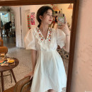 Dress Summer 2021 Light blue, white S. M, XXS pre sale Mid length dress singleton  Short sleeve Sweet V-neck High waist Solid color Socket A-line skirt puff sleeve Others 25-29 years old Type A Embroidery, buttons 31% (inclusive) - 50% (inclusive) other cotton college