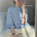 T-shirt blue One size fits all, XXS pre-sale Summer 2021 three quarter sleeve Crew neck easy Medium length routine commute cotton 51% (inclusive) - 70% (inclusive) Korean version youth Thick horizontal stripe