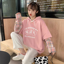 Sweater / sweater Winter 2020 Blue, pink One size fits all, XXS pre-sale Long sleeves routine Socket Fake two pieces routine Hood easy Sweet routine lattice 81% (inclusive) - 90% (inclusive) Other / other printing solar system