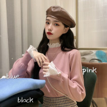 Wool knitwear Autumn of 2019 One size fits all, XXS pre-sale Black, pink, grayish blue Long sleeves singleton  Socket other 31% (inclusive) - 50% (inclusive) have cash less than that is registered in the accounts routine commute Self cultivation Lotus leaf collar pagoda sleeve Solid color Socket
