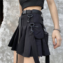 skirt Summer of 2019 S. M, l, XXS pre-sale Gray, black Short skirt High waist Pleated skirt Solid color Type A 18-24 years old Other / other pocket