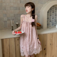 Pajamas / housewear set female Other / other One size fits all, XXS pre-sale White, black, pink other Sweet pajamas summer routine One word collar Solid color Socket youth 61% (inclusive) - 80% (inclusive) printing Short skirt