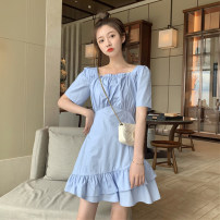 Dress Summer 2020 White, baby blue S. M, XXS pre sale Middle-skirt singleton  Short sleeve commute square neck High waist Solid color other Irregular skirt routine Others Type A Korean version Auricularia auricula, asymmetric 51% (inclusive) - 70% (inclusive) other other