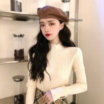 sweater Winter 2020 One size fits all, XXS pre-sale Apricot, orange, black Long sleeves Socket singleton  Regular other 51% (inclusive) - 70% (inclusive) Half open collar Regular commute routine Solid color Self cultivation