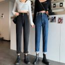 Jeans Autumn 2020 Blue, black S. M, l, XL, XXS pre-sale Ninth pants High waist Haren pants routine washing 51% (inclusive) - 70% (inclusive)
