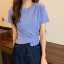 T-shirt White, blue, black, pink One size fits all, XXS pre-sale Summer 2021 Short sleeve Crew neck easy Regular routine commute other 86% (inclusive) -95% (inclusive) Korean version youth Solid color
