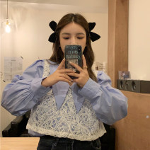 shirt White, blue One size fits all, XXS pre-sale Summer 2021 other 31% (inclusive) - 50% (inclusive) Long sleeves commute Regular Polo collar Socket routine Solid color Straight cylinder Korean version