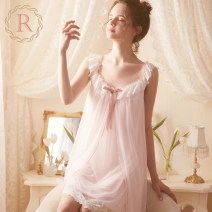 Nightdress ROSE TREE Light pink off white XS S M L XL Sweet camisole pajamas Short skirt summer Solid color youth Crew neck nylon lace 81% (inclusive) - 95% (inclusive) Mesh fabric tba231 Spring 2021 Polyamide fiber (nylon) 90% polyurethane elastic fiber (spandex) 10% Pure e-commerce (online only)
