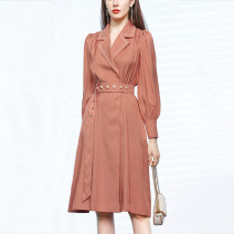 Dress Spring 2021 Brick red (5-7 days delivery), brick red (in stock) S,M,L,XL Short skirt singleton  Long sleeves commute V-neck Loose waist Solid color Socket other routine Others 25-29 years old Type A Duffy fashion Retro GC22319 30% and below polyester fiber