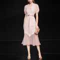Dress Summer 2020 Light pink (7) - 10 days delivery) , Light powder (in stock) S,M,L,XL Mid length dress singleton  Short sleeve street square neck High waist Solid color other Ruffle Skirt puff sleeve Others 30-34 years old Type X Duffy fashion Ruffles, lace up, stitching DC18520 Lace cotton