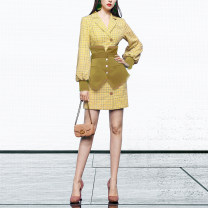suit Spring 2021 Goose yellow (about 7 days delivery), goose yellow (spot) S,M,L,XL Long sleeves Medium length Self cultivation tailored collar Single breasted street bishop sleeve lattice QC22188G 25-29 years old 81% (inclusive) - 90% (inclusive) polyester fiber Duffy fashion