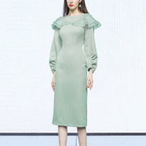 Dress Spring 2021 Greyish green (5-7 days delivery), greyish green (in stock) S,M,L,XL Mid length dress singleton  Long sleeves street One word collar High waist Solid color Socket One pace skirt bishop sleeve Others 25-29 years old Type X Duffy fashion Pleating, stitching, zipper HC22129 other