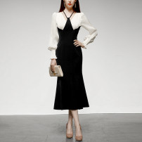 Dress Spring 2021 White + black (5-7 days delivery), white + black (in stock) S,M,L,XL longuette singleton  Long sleeves commute V-neck High waist Solid color zipper One pace skirt puff sleeve Others 25-29 years old Type X Duffy fashion Retro Bright silk, Auricularia auricula, stitching, zipper other