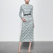 Dress Spring 2020 Picture color long sleeves (5-7 days delivery), picture color short sleeves (5-7 days delivery), picture color long sleeves in stock, picture color short sleeves in stock S,M,L,XL Mid length dress singleton  Long sleeves street One word collar middle-waisted Decor zipper routine