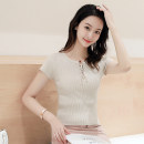 Wool knitwear Spring of 2019 S,M,L,XL White, black, red, yellow, apricot, blue, gray blue, brick red Short sleeve singleton  Socket other 30% and below Super short routine commute Self cultivation other routine Solid color Socket Korean version Thread, bandage, Gouhua, hollow out
