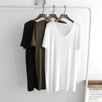 T-shirt White, black, army green Average size Summer of 2019 Short sleeve V-neck easy Medium length routine modal  96% and above Solid color Other / other