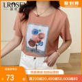 Women's large Summer 2021 Orange Large L Large XL Large XXL large XXL large XXL large XXXL T-shirt singleton  commute Self cultivation thin Socket Short sleeve Letters for plants and flowers Korean version Crew neck routine Cotton Lycra Lycra Collage routine Lrosey / blue water 25-29 years old
