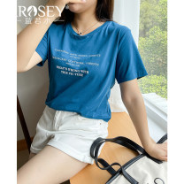 Women's large Summer 2021 Blue white Large L Large XL Large XXL large XXL large XXL large XXXL T-shirt singleton  commute Straight cylinder moderate Socket Short sleeve letter Korean version Crew neck routine Cotton Lycra Lycra Three dimensional cutting routine Lrosey / blue water 25-29 years old