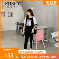 Women's large Summer 2021 Two piece set Large L Large XL Large XXL large XXL large XXL large XXXL Other oversize styles singleton  commute Self cultivation thin Socket Short sleeve Plant and flower characters Korean version Hood routine Cotton Lycra Lycra Three dimensional cutting routine