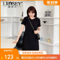 Women's large Summer 2021 Black (pre sale) Large L, large XL, large XXL, large XXXXL, large XXXXL - pre sale May 5 Dress singleton  commute Self cultivation thin Conjoined Short sleeve Solid color Korean version Crew neck Polyester Lycra Lycra Three dimensional cutting routine Lrosey / blue water