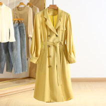 Dress Spring 2021 Yellow, Navy S,M,L,XL,2XL Mid length dress singleton  Long sleeves square neck other Type A Other / other RKR15L005 81% (inclusive) - 90% (inclusive) other