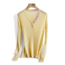 sweater Spring 2021 Average size Yellow, white, black Long sleeves Socket singleton  Regular wool 31% (inclusive) - 50% (inclusive) V-neck Regular commute routine Solid color Self cultivation 25-29 years old Other / other wool