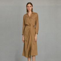 Dress Spring 2021 Carmine, Khaki S,M,L,XL Mid length dress singleton  Long sleeves V-neck Socket Type H Other / other AER15L006 More than 95% other