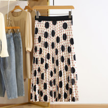 skirt Spring 2021 S,M,L,XL,2XL Mid length dress commute Natural waist Dot Type A More than 95% Other / other Korean version