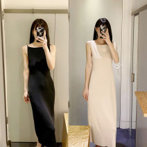 Dress Spring 2020 Black, camel, white, light beige XS,S,M Mid length dress singleton  Sleeveless commute One word collar Loose waist Solid color Socket A-line skirt other camisole 25-29 years old Type A Ol style More than 95% knitting wool