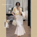 Fashion suit Summer 2021 S. M, l, average, average + s, average + m, average + L Yellow knitting, white skirt, yellow knitting + white skirt 25-35 years old