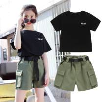 Dress Summer 2020 Army green, black 110cm, 120cm, 130cm, 140cm, 150cm, 160cm, 170cm Two piece set Short sleeve Crew neck Solid color Socket Others Under 17 Other / other 81% (inclusive) - 90% (inclusive) cotton