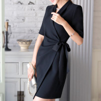 Dress Spring 2017 S,M,L,XL,2XL,3XL Middle-skirt singleton  Long sleeves commute V-neck middle-waisted Solid color Socket A-line skirt routine Others 25-29 years old Type X Ol style Bowknot, stitching