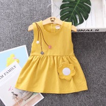 Dress female Other / other 73cm,80cm,90cm,100cm,110cm Cotton 95% polyester 5% summer lady Skirt / vest Solid color cotton A-line skirt 12 months, 6 months, 9 months, 18 months, 2 years, 3 years, 4 years Chinese Mainland Zhejiang Province