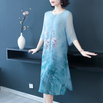 Middle aged and old women's wear Summer 2021 Red, green, blue L,XL,XXL,XXXL,4XL noble Dress easy singleton  Broken flowers 40-49 years old Socket thin Medium length 82006mn 96% and above Middle-skirt 181g / m ^ 2 (including) - 200g / m ^ 2 (including)