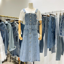 Dress Autumn 2021 blue S,M,L,XL Mid length dress singleton  Sleeveless commute One word collar middle-waisted Solid color double-breasted other other straps 18-24 years old Type X 30% and below Denim other