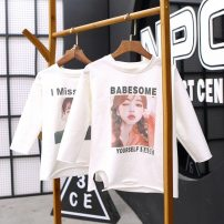 T-shirt Pink, green Other / other female spring and autumn three quarter sleeve Crew neck Korean version There are models in the real shooting nothing cotton other Class B Sweat absorption 2, 3, 4, 5, 6, 7, 8, 9, 10, 11, 12 years old Chinese Mainland Zhejiang Province Huzhou City