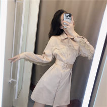 Dress Autumn of 2019 Picture color S,M,L Middle-skirt singleton  Long sleeves commute Polo collar other other routine Others 18-24 years old Korean version Y0102 51% (inclusive) - 70% (inclusive)