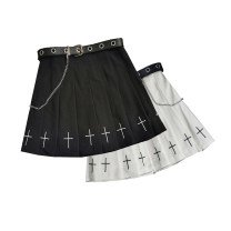 skirt Summer 2021 S,M,L,XL,2XL Black with belt, white with belt, black without belt, white without belt, belt Short skirt street High waist Pleated skirt Solid color Type A 18-24 years old 71% (inclusive) - 80% (inclusive) other Other / other polyester fiber Zipper, embroidered, pleated, solid color