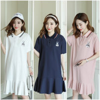Dress Other / other White, blue, pink M,L,XL,XXL Korean version Short sleeve Medium length summer Lapel Animal design Pure cotton (95% and above)
